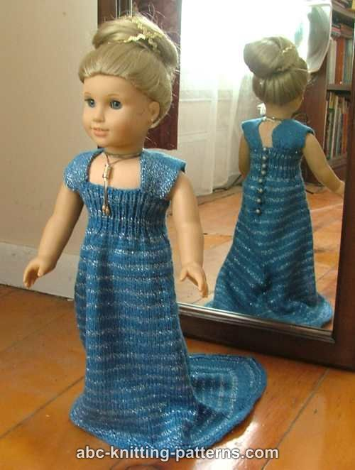 ABC Knitting Patterns - American Girl Doll Evening Dress with Train