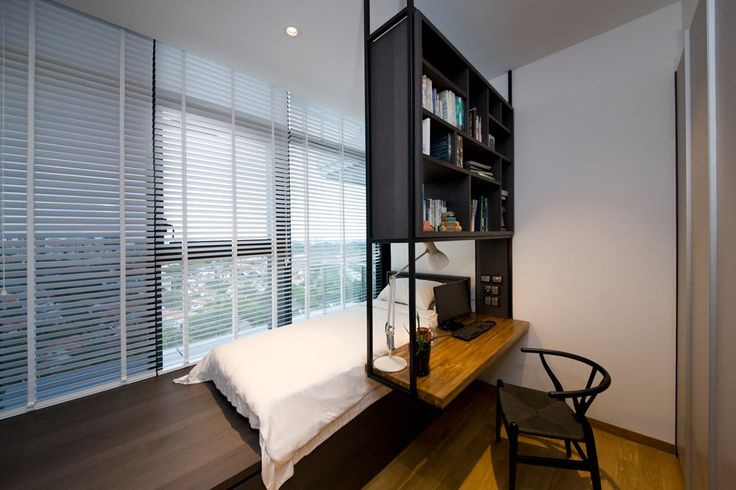 Thomson, Modern Condominium Interior Design, Bedroom with Study Area