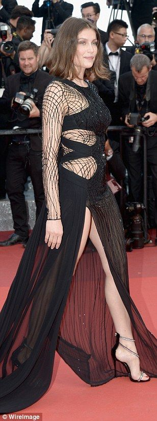 Sheer daring: French Nineties supermodel and actress Laetitia Casta also flashed the flesh...