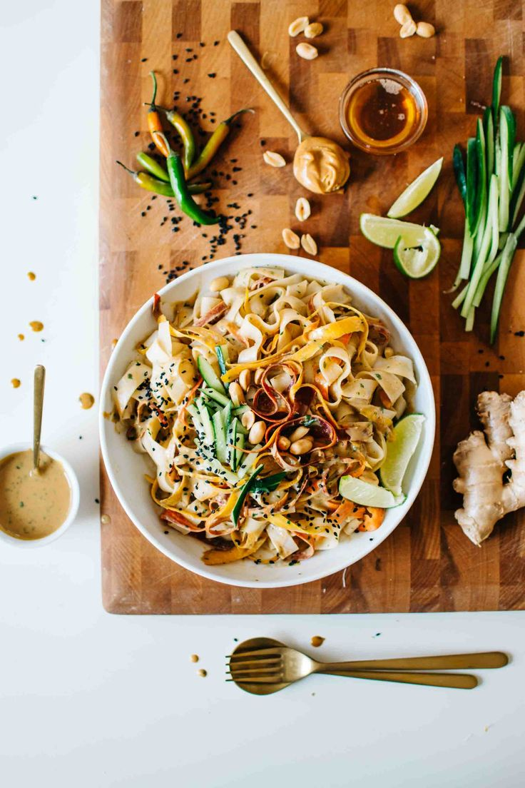 SESAME PEANUT RICE NOODLE SALAD. | Kale and Caramel