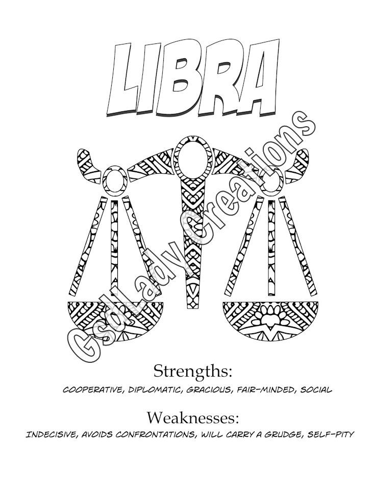 Star Signs Libra Art Print Astrology Coloring Page Horoscope