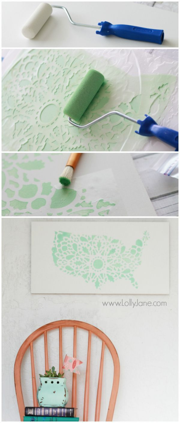 Learn how to stencil DIY wall art using the Charlotte Allover Stencil and USA silhouette. http://www.cuttingedgestencils.com/charlotte-allover-stencil-pattern.html