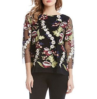 Karen Kane® Embroidered Net Blouse