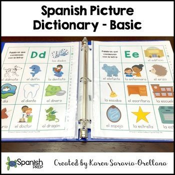 "Spanish Picture Dictionary - Basic: Two dictionaries, one in color and one in black and white, both in PDF. Each dictionary contains a page for each of the 27 alphabet letters and a cover page. Each page has 10 words that begin with that letter in the alphabet. Between each picture page, there is a blank page (with the same box format) that students may write in the new words they learn and draw a picture. Does NOT include the ""ch"" and ""ll"" since, they were removed from the alphabet in 2010."