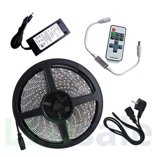 5m LED Nauha 4.8w/m Kaukosäätimellä ja Virtalähteellä (Vesitiivis)