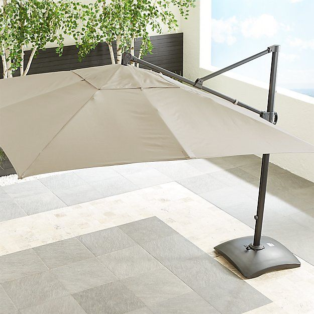 10 Sunbrella Stone Square Cantilever Umbrella Backyard In