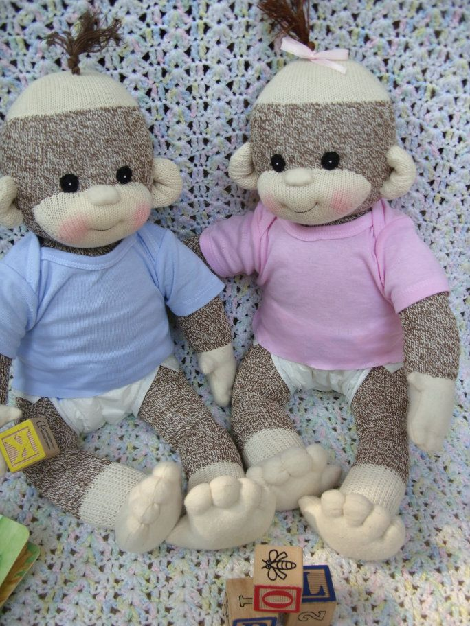 Boy/Girl Sock monkey babies with diaper and t-shirt Cutest Creations Lali monkeys stuffed animal toy