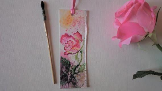 Bookmark in watercolor, original painting of a rose, pink flowers, for a woman, original watercolor