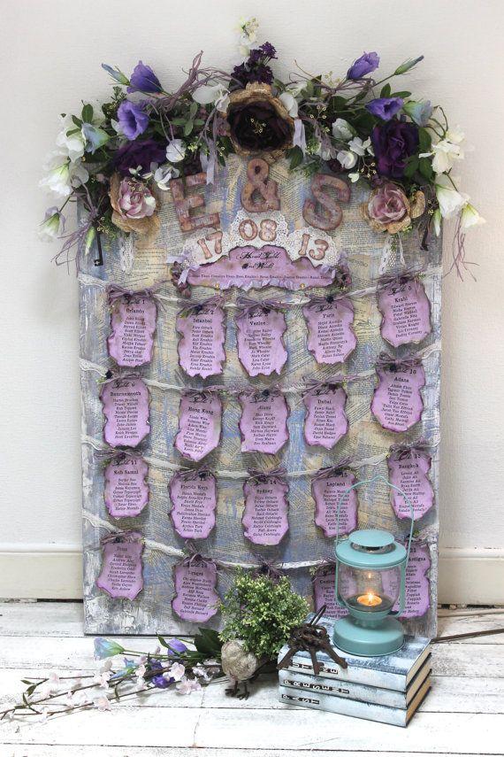 Wedding seating plan lavender purple wedding table plan vintage style wedding - reusable display
