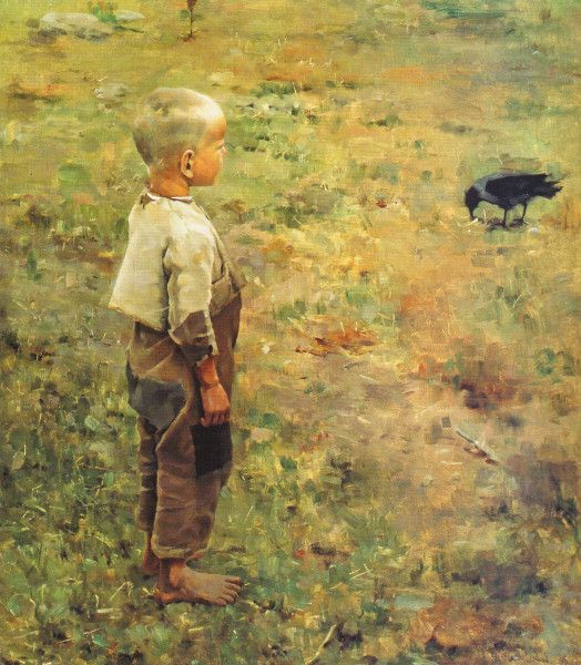 """Boy with a Crow"" (1884) by Akseli Gallen-Kallela"