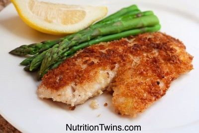 Baked Coconut Crusted Tilapia Yum-- and it saves mega calories when you don't fry it! NutritionTwins.com