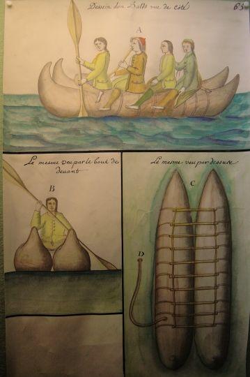 """Bateau que les Indiens de la Mer du Sud appellent """"Balsa"""", pour naviguer le long des côtes. Voyage du malouin Gouin de Beauchesne, 1698-1701"""
