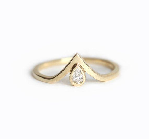 Banda diamante de V V diamante anillo anillo de por MinimalVS