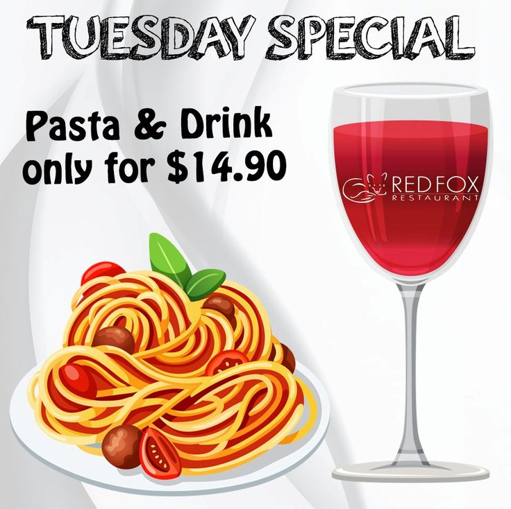 Make Every Tuesday a Happy Tuesday. Enjoy our Tuesday Special...  #RedFoxRestaurant #Restaurant #DeliciousFood #Food #Warrandyte #Melbourne #Australia #TuesdaySpecial #Pasta #Drink