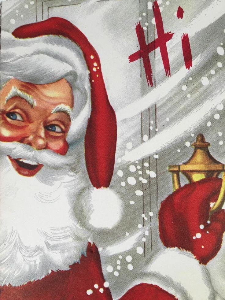 Vintage Santa. Santa At The door. Christmas Hello. Retro Christmas Card. Vintage Christmas Card.