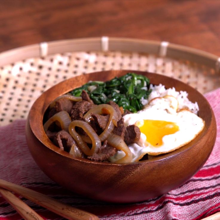 This is our kind of breakfast bowl. Next time you're in the mood for a beef bowl, try this Filipino bistek bowl! It's beef steak with swag.