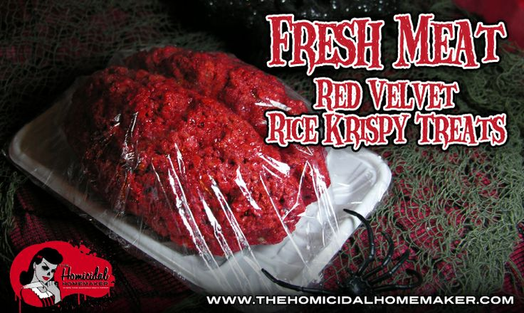 Fresh Meat Red Velvet Rice Krispy Treats: The Homicidal Homemaker shows you how to how to make realistic looking fresh, raw meat out of rice krispy treats with a fun Red velvet twist!