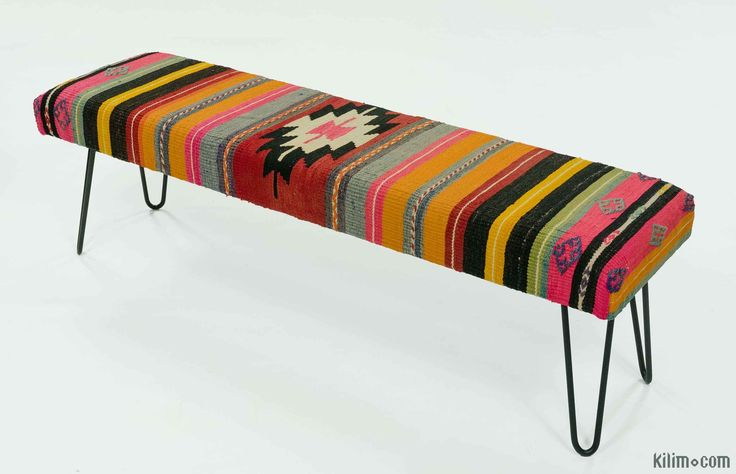 Kilim bench upholstered with vintage Turkish kilim rug. Hairpin legs add a modern look. Handmade fabric, legs and frame. Unique item as all the items on the site. It could be used as a bench, footstool or for the living room, bedroom or hallway. Please contact us if you prefer other kilims for upholstery or other colors for the legs.