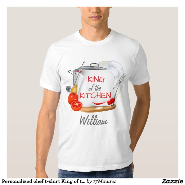 Personalized chef t-shirt King of the Kitchen. Personalize very text and select your t-shirt style and color. Gourmet, culinary, kitchen, cook, chef.
