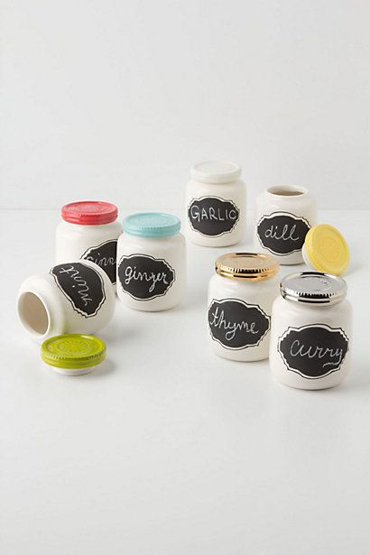 cute   colorful chalkboard paint spice jars.