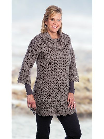 Crochet - Tunic With Optional Cowl Crochet Pattern - #837811