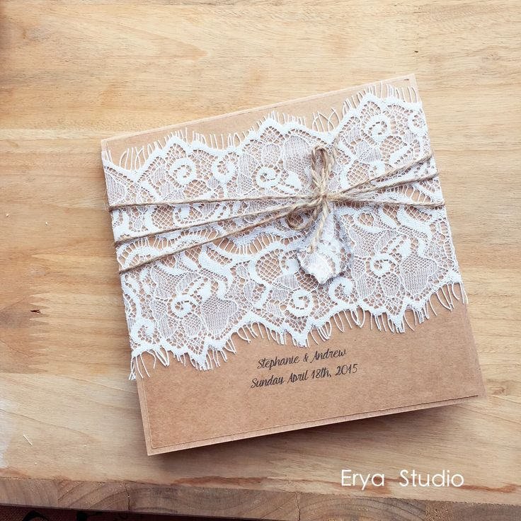 Vintage Lace Burlap Wedding Invitation Burlap Wedding