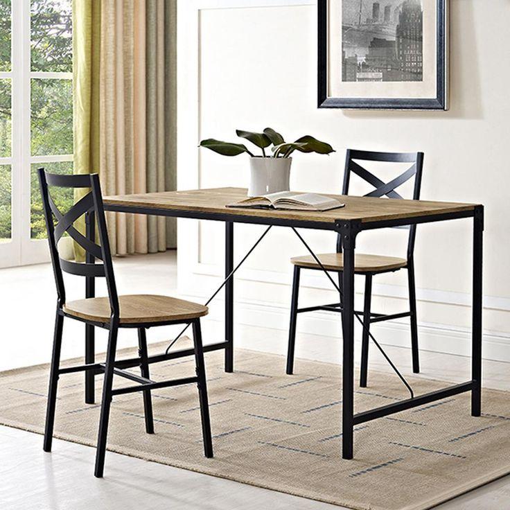 Walker Edison Furniture Company Angle Iron 5-Piece Barnwood Wood Dining Set-HD48WAIBW - The Home Depot