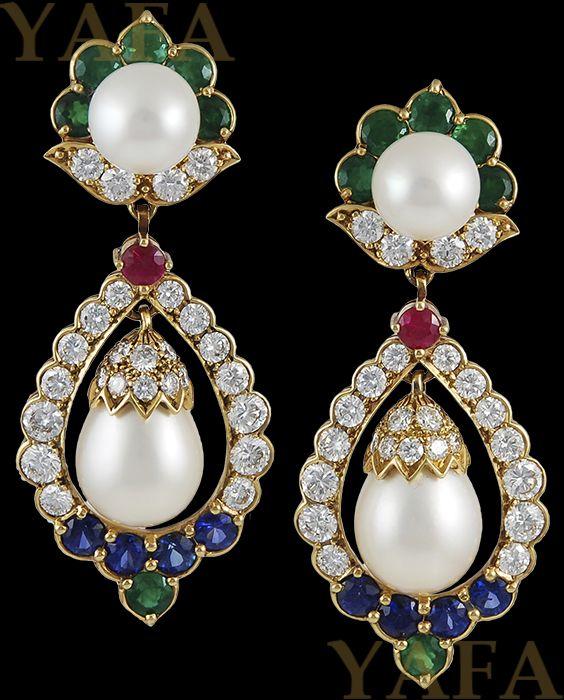 VAN CLEEF & ARPELS Diamond, Pearl and Precious Stones Earrings