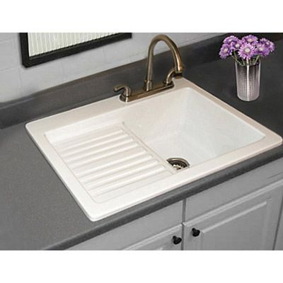 Utility Sink - Laundry Tub with Washboard and Drainboard, Microban Protected - Edgewood by CorStone - 3 Hole Faucet Drillings