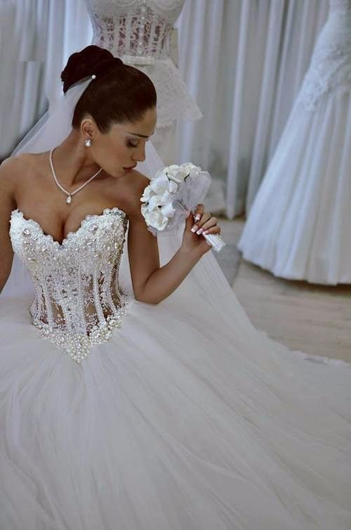 Luxurious Bling Strapless Wedding dresses Corset Bodice Sheer Bridal Ball Crystal Pearl Beads Rhinestones Tulle Wedding Gowns |
