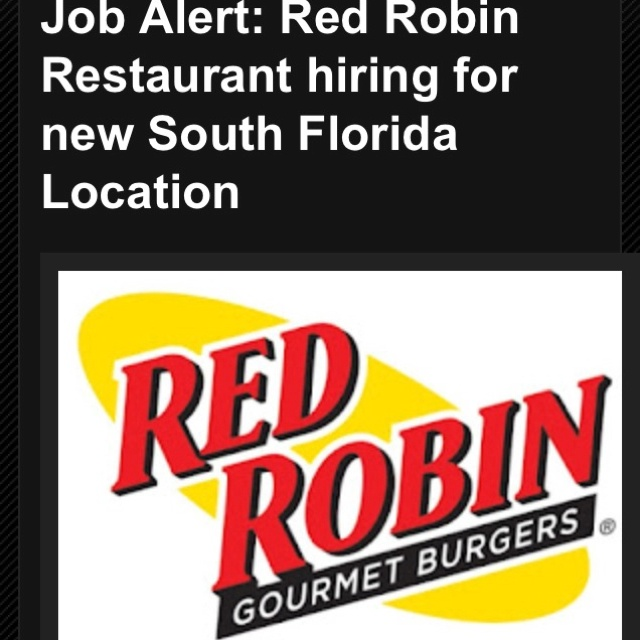 Red Robin Restaurant hiring for new South Florida location