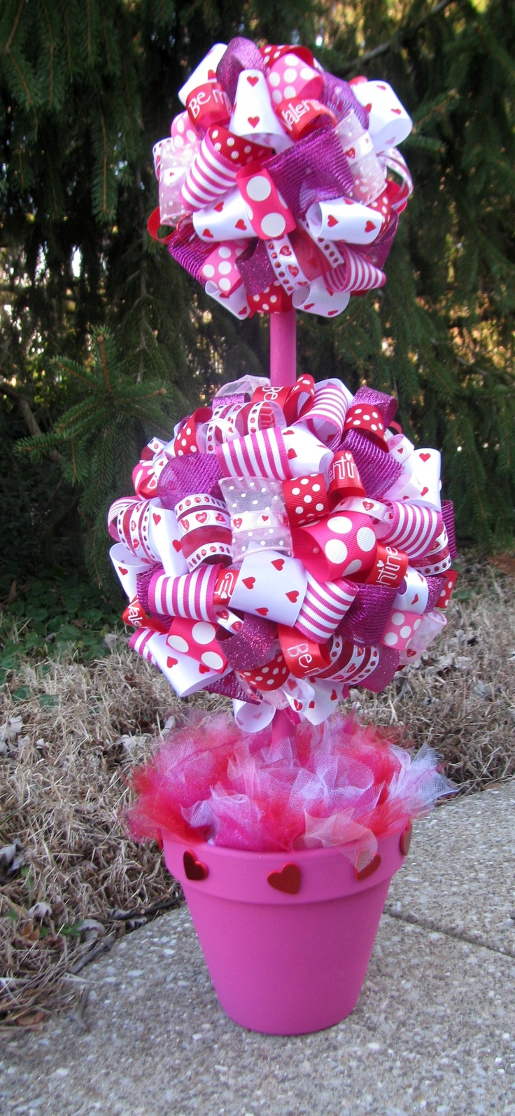 Valentine's Day Ribbon Topiary created by Banana Lala Party Designs & More