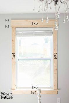 DIY Window Trim - The Easy Way   Bless'er House   no miter cuts - just 1x2, 1x4, 1x6, nail gun, wood screws, caulk, and paint