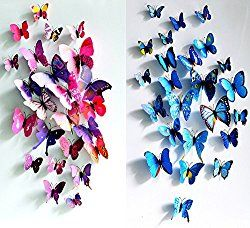ElecMotive 12 pcs Purple + 12 pcs Blue 3D Butterfly Stickers Random Mixed Packing Home Decoration DIY Removable 3D Vivid Special Man-made Lively Butterfly Art DIY Decor Wall Stickers for Wall Decor Home Decor Wall Art Kids Room Bedroom Decor Living Room Decor