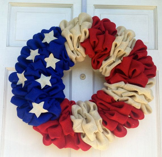 Patriotic Burlap Wreath - 4th of July Wreath - Red, White, and Blue Wreath on Etsy, $55.00