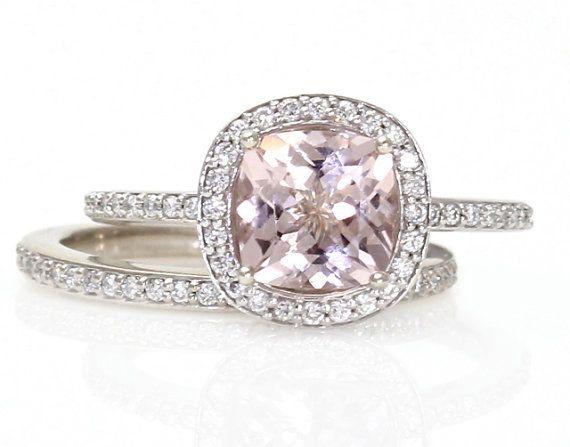 14K Cushion Morganite Engagement Ring & Wedding Band by RareEarth, $1500.00 yep!