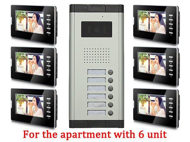 Apartment Wired Video Door Phone RFID Card Audio Visual Intercom System 6 Units