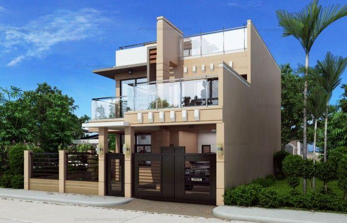 Ricardo Two Storey Modern With Firewall Phd Ts 2016023 Pinoy House Designs Pinoy H Two Story House Design House Designs Exterior Two Storey House Plans