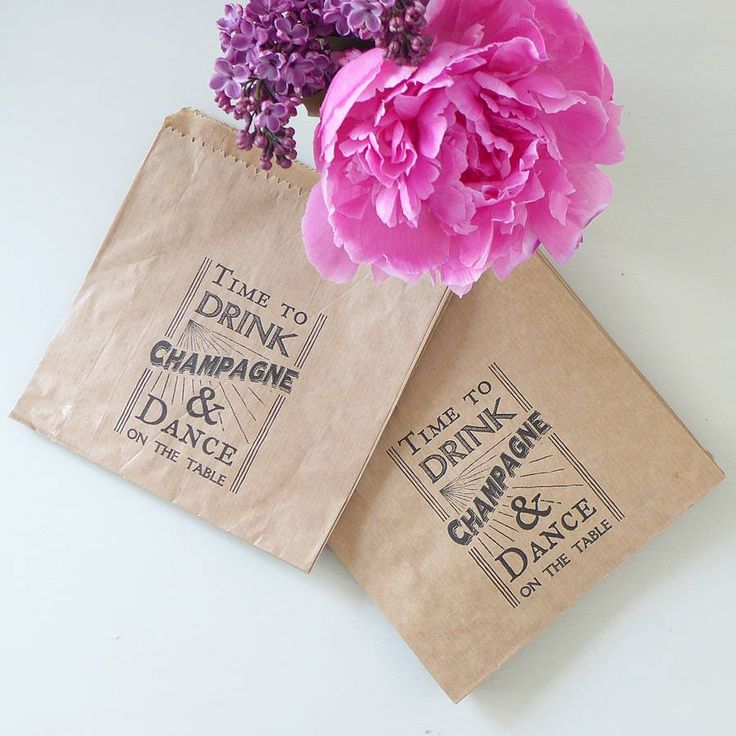 Time To Drink Champagne Printed Favour Bags