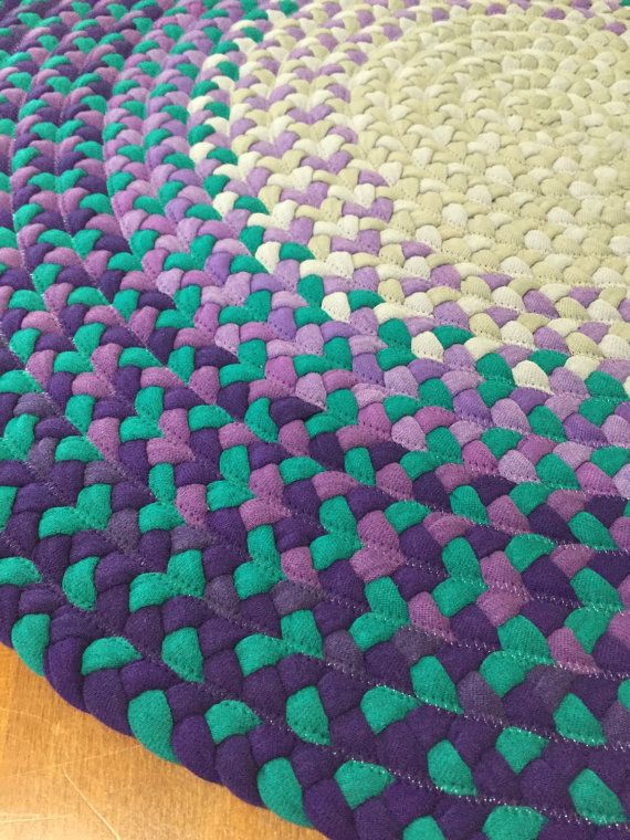 27 Purple and Teal Round Rug by TheCozyAbode on Etsy