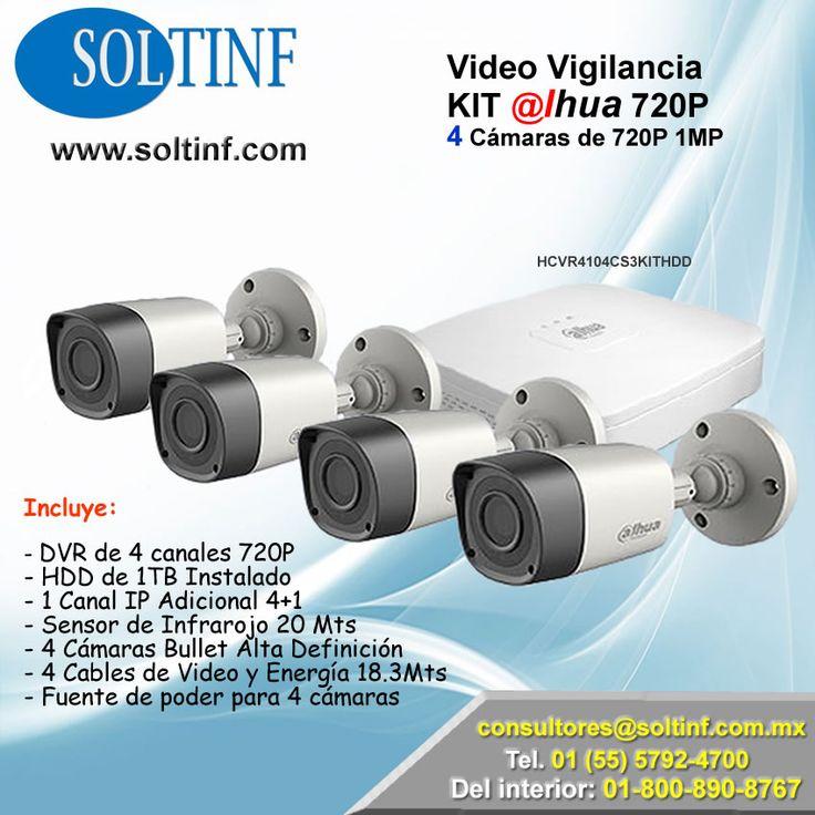 #Video #Vigilancia KIT @lhua 720P 4 #Cámaras de 720P 1MP  INCLUYE: - DVR de 4 canales 720P  - HDD de 1TB Instalado - 1 Canal IP Adicional 4+1 - Sensor de Infrarojo 20 Mts - 4 Cámaras Bullet Alta Definición  - 4 Cables de Video y Energía 18.3Mts - Fuente de poder para 4 cámaras  NUESTRA TIENDA EN LINEA: https://www.soltinf.com/