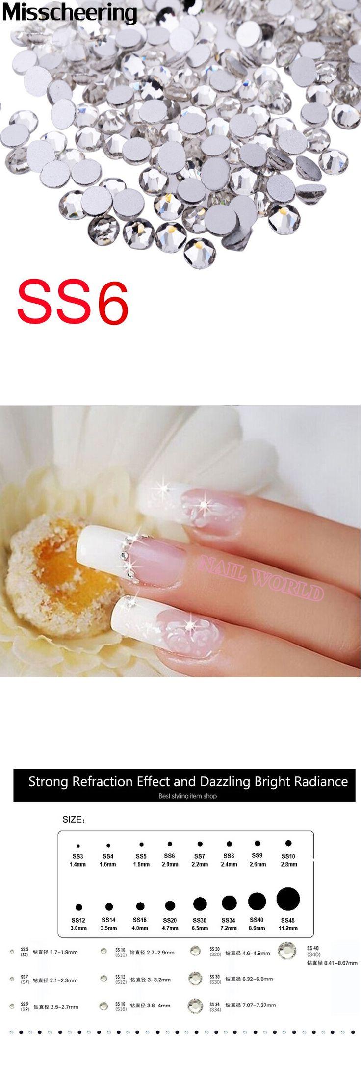 ss6 Nail Rhinestones Decorations,1440pcs/lot Top Quality Crystal Clear Non Hotfix Flatback Glitter Stones,Clothing Nail Supplies