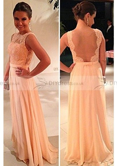 Beautiful A-Line High-Neck Beaded Appliqued Yarn Back Floor-Length Prom Dresses (10206631)