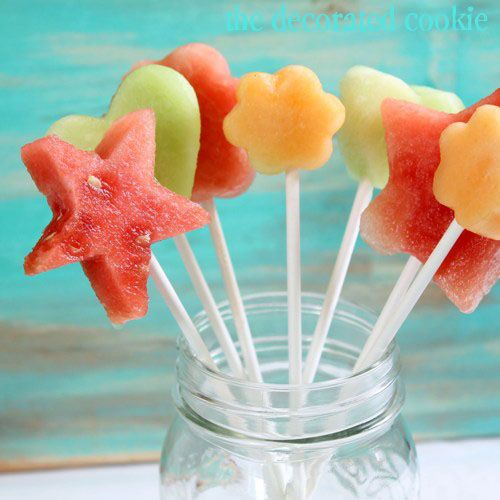 For the fruit pops,  sliced honeydew, watermelon and cantaloupe, a bunch of cookie cutters (smaller is better) and lollipop sticks and let  kids cut out their desired shapes and make pops.