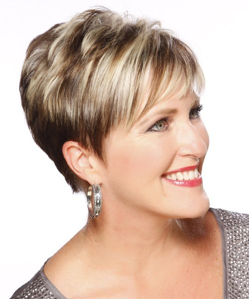 Highlights for Women Over 50 | Formal Short Straight Hairstyle - Light Blonde Layered - 13161 ...