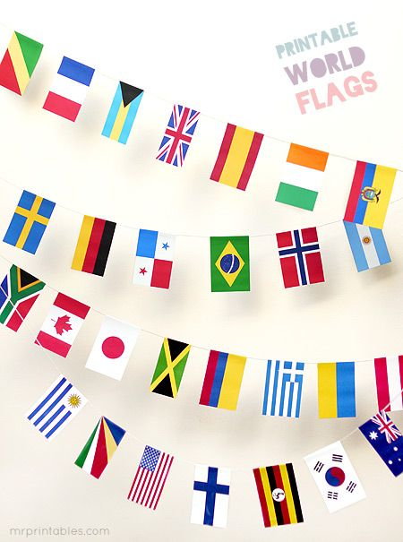 Printable World Flags - for individual country unit studies. Focus on one country each month/couple weeks and study geography, culture, art, history, notable people, food, etc. make some traditional food with the kids to try