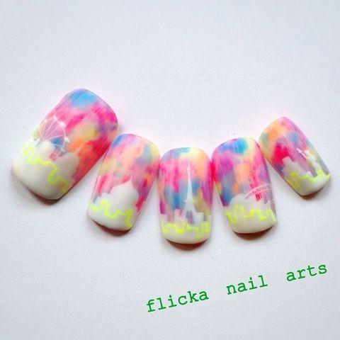 垂らしこみアート の画像|茨城県水戸市プライベートネイルサロン flicka Nail Arts