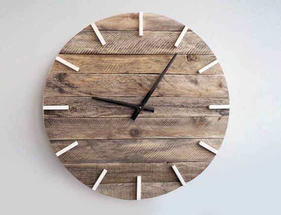 Handmade wooden wall hanging clock with metal hands is made from real weathered wood. Numbers are hand painted with oil paint. This big vintage