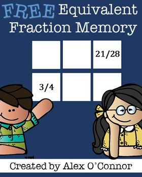 FREE Equivalent Fraction Memory is a math game for upper elementary or middle school students. Comes with an easy and difficult set of cards to help differentiate instruction. The fraction cards are also great to use for other topics, including adding fractions, subtracting fractions, multiplying fractions, dividing fractions, ratios, and more! Try them out and let me know what you think!