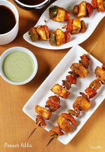 Paneer tikka recipe made in oven and stove top or gas stove. Learn to make restaurant style paneer tikka recipe with step by step photos